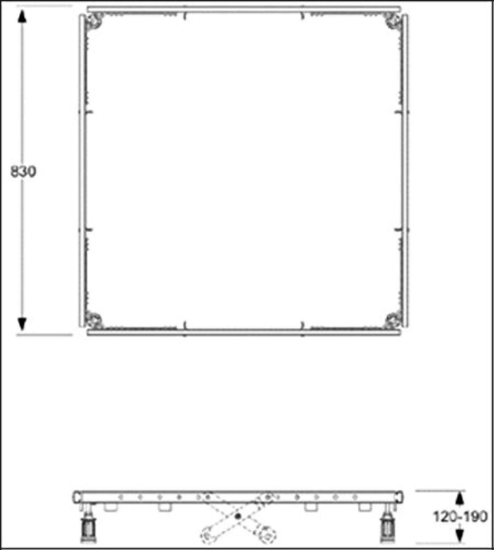 Mepa Montagerahmen für Acrylduschwannen ab 80x75cm bis 100x100cm
