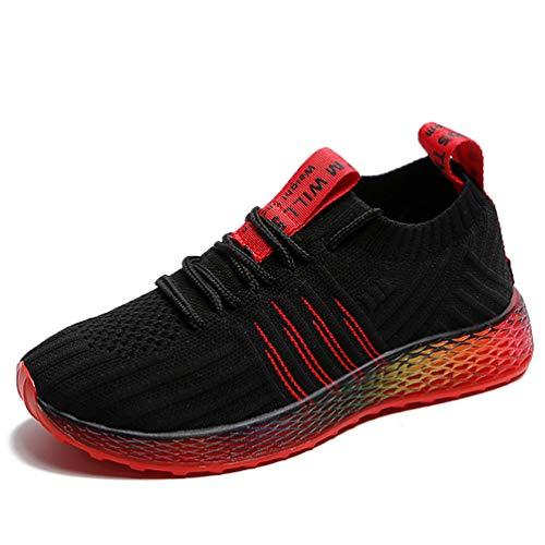 Zapatillas de Deporte de Punto elásticas Ligeras Zapatillas de Correr de Colore Mixto Transpirables Informales Zapatillas de Deporte Antideslizantes con Cordones para Mujer Atletismo de Fondo Suave