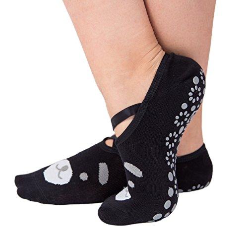 Yoga Socks for Women Barre Sock Grip NonSlip NoSkid Pilates Hospital Maternity 1Pair Black