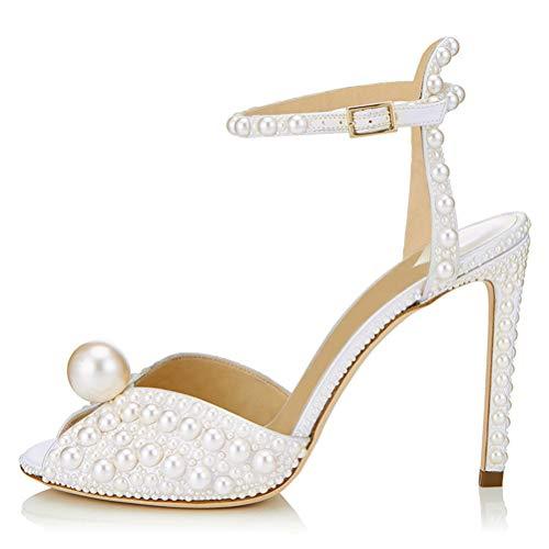 Insole Sandalen High Heel, Cremig-Weiße Perlen-Fisch-Mund-Ankel Strap Sling 10CM-Heeled Für Bankett Hochzeit,41