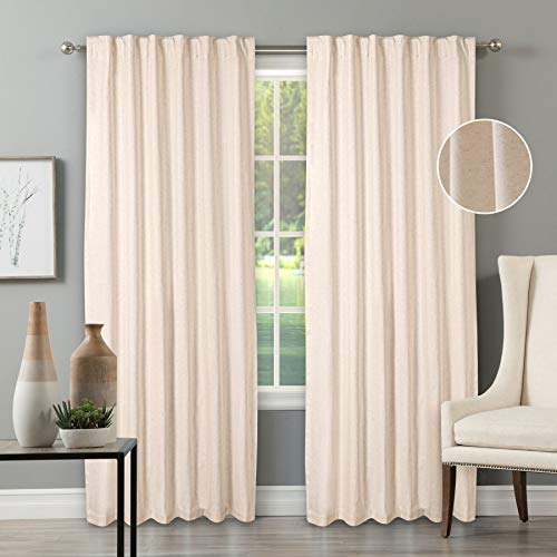 亚麻棉标签顶部窗帘,农舍纯棉/亚麻窗帘,窗帘2面板套装-50x108天然窗帘,反向窗口面板,窗帘窗帘板,卧室窗帘,亚麻30%,棉70%