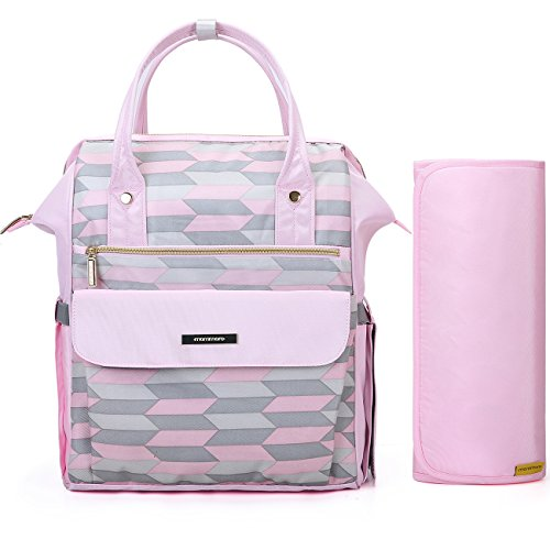 mommore Fashion Baby Diaper Backpack Travel Nappy Tote Bag Roomy Changing Backpack with Changing Pad for Baby Care, Pink
