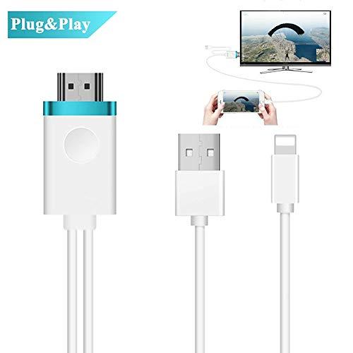 Cable HDMI para Adaptador de iPhone a HDMI,Convertidor de Cable AV Digital a 1080P HDTV para Conector HDMI de iPhone X / 8/8 + / 7/7 + / 6/6 + / 5S