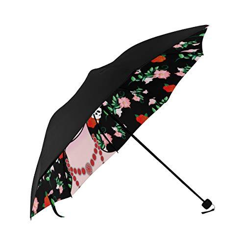 Earrings Jewelry Fashion Items Match Compact Travel Umbrella Sun Parasol Anti Uv Foldable Umbrellas(underside Printing) As Best Present For Women Sun Uv Protection