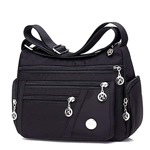 XOYZUU Bolso de viaje para mujer con múltiples bolsillos de nailon, bolso cruzado, bolso de hombro impermeable de nailon