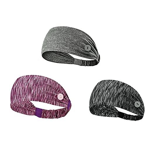 Pack de 3 diademas deportivas para yoga, gimnasio, botones anchos para el cabello, diademas impresas con turbante elástico para exteriores (color B)