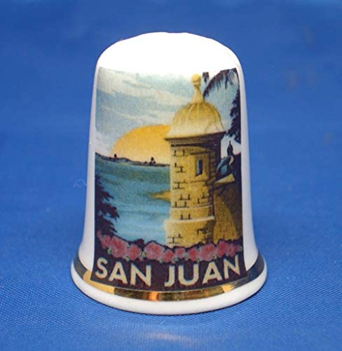 Birchcroft Porcelain China Collectible Thimble - Travel Poster S