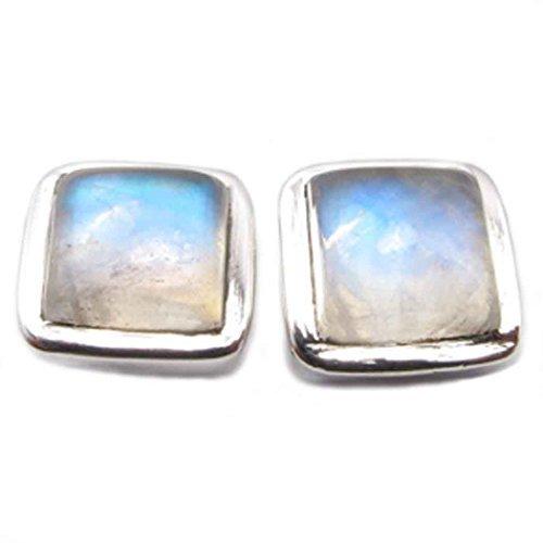 Bijoux et Objets Boucles d/'oreilles pierre de lune arc-en-ciel en argent massif Dimensions des pierres 6x8mm
