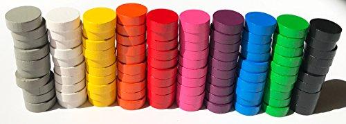 Spieltz 52351 Bunte Spielsteine: Scheiben aus Holz für Brettspiele, verwendbar z.B. als Dame-Steine, Zählsteine, Marker oder stapelbare Spielfiguren. Größe 21/7 mm, 10 Farben, 100 Stück (10x10)
