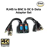Ares Vision Passive Video Balun BNC to RJ45 Adapter with DC Power & RCA Audio, Transmit Over Cat5/Cat6/Cat7 Cable to BNC Connection & Data, Up to 8MP (4K) Resolution Supported 4 Pairs