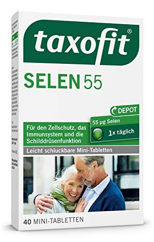taxofit Selen 55 Depot Mini-Tabletten/Nahrungsergänzungsmittel mit Selen für den Zellschutz, das Immunsystem und die Schilddrüsenfunktion / 40 Mini - Tabletten