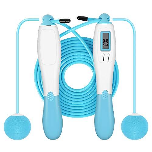 Molbory Springseil mit digital Zähler, Speed Rope, Stahl Seil mit PVC Ummantelung,Seilsprin gen mit Kalorienzähler& Anti-Rutsch Griffen für Training, Fitness für Kinder und Erwachsene