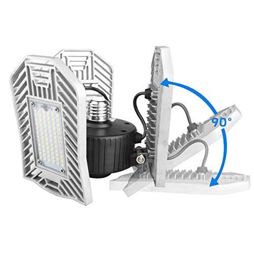 Tanbaby Deformable LED Garage Lights 80W Tribright Garage Light LED Garage Lighting 8000lm LED Garage Ceiling Lights LED Shop Lights for Garage, Warehouse, Workshop, Basement