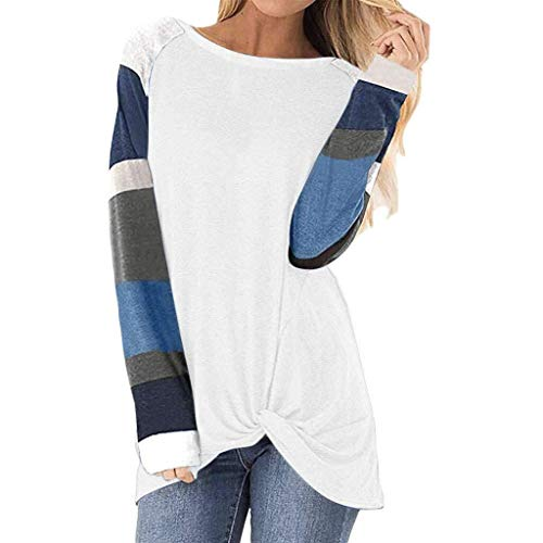 Vrouwen Ladies Cotton Zomer Lente Herfst korte mouw Triple Stripe T-shirt Casual Blouse (Color : White, Size : XL)