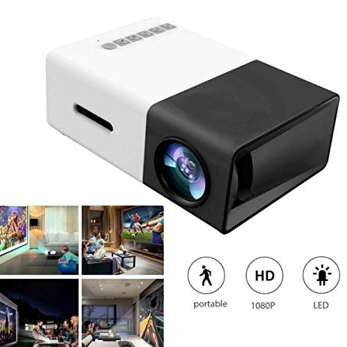 JFZCBXD Mini proyector portátil 1080P Beamer LED de Cine en casa al Aire Libre con PC portátil USB/SD/AV/HDMI de Entrada proyector de Bolsillo para el Game Party Home Entertainment