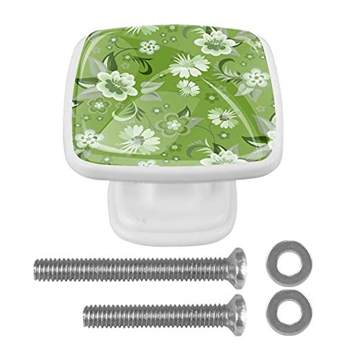 Paquete de 4 herrajes Blancos para gabinetes Flores Florales Verdes Perilla cuadrada con tornillos de montaje, tiradores de un solo orificio 3x2.1x2 cm