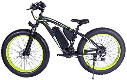 Fahrrad, 48V 1000 Watt Electric Mountainbike 26inch Fettreifen Ebike 21 Geschwindigkeiten Strand Cruiser Herren Sport Federung Gabel Mountainbike Hydraulische Scheibenbremsen City Bike (Farbe: schwarz