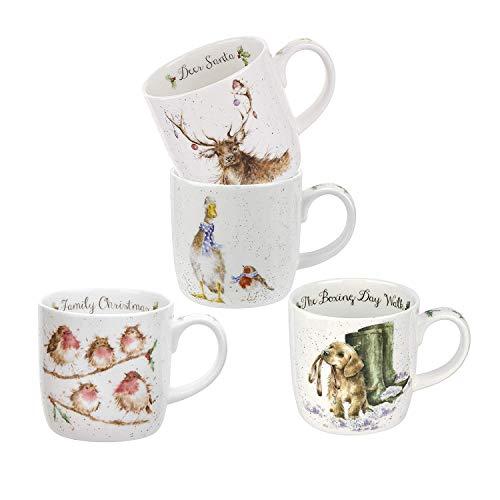 Royal Worcester Ambiente Porcelana Fina Taza de Navidad Taza Burro y Gatito 0.4 litros