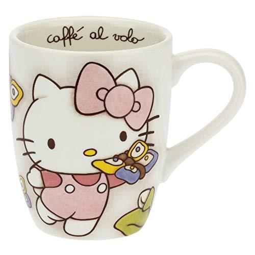 THUN ® - Mug Hello Kitty Farfalle per tè, caffè, tisana - Porcellana - 250 ml - Ø 8,5 cm