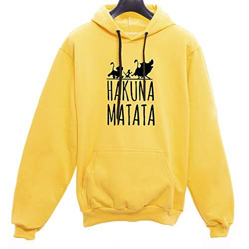 Moletom Canguru Unissex Hakuna Matata Rei Leão (Amarelo, G)
