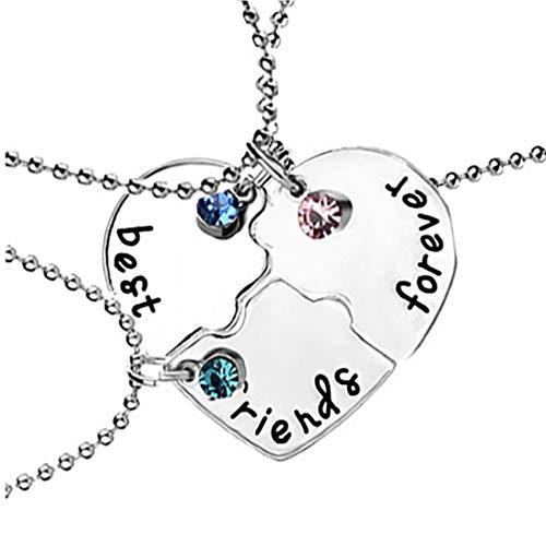 ZYCX123 3PCS / Set Mejor Amigo para Siempre Collar de la Forma del Kit del Rhinestone BFF Collar Corazón Colgante Amistad Puzzle Costura de Regalo de la joyería Collar