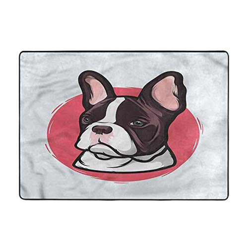 Bedroom Area Rug Animal,French Bulldog Hipster 6 x 9 Ft Carpets for Living Room