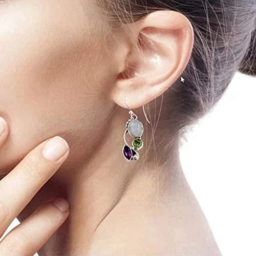 XIHUANNI Pendientes colgantes de gancho, pendientes multicolor de piedra lunar, bohemio, peridoto, amatista, arco iris, para mujer