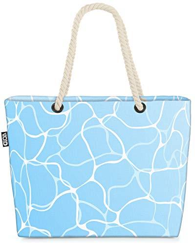 VOID Pool Wasseroberfläche Strandtasche Shopper 58x38x16cm 23L XXL Einkaufstasche Tasche Reisetasche Beach Bag
