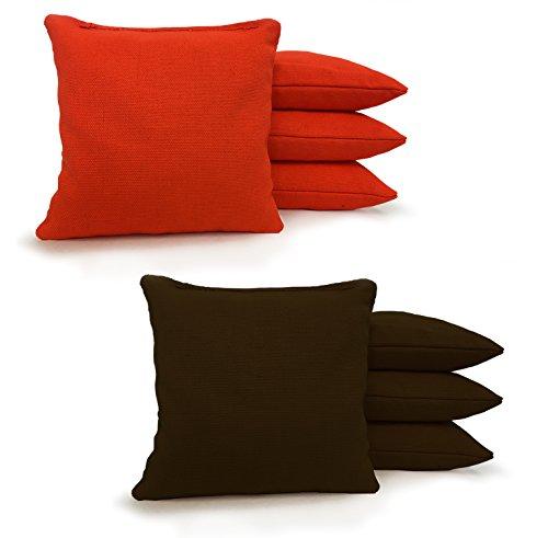 "Johnson Enterprises, LLC 8 Standard Corn Filled Regulation 6""x6"" Duck Cloth Cornhole Bags! (Orange/Brown)"