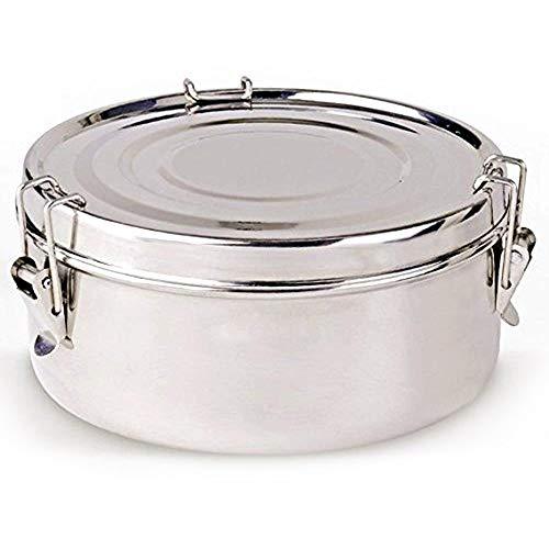 LS Kitchen - Contenitore Termico per il Pranzo - Borsa Termica per Alimenti - Acciaio Inox - 2 Piatti - 18 cm - Argento