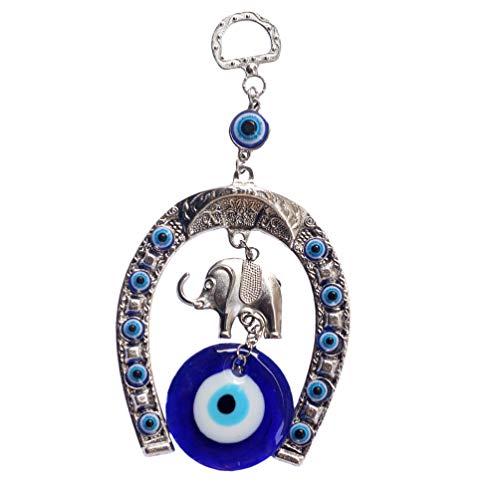 non-branded Ojo Malvado Azul Turco con Elefante de La Suerte Decoración de Pared Amuleto Adornos Colgantes Protección Y Amuleto de Buena Suerte Regalo de Bendición