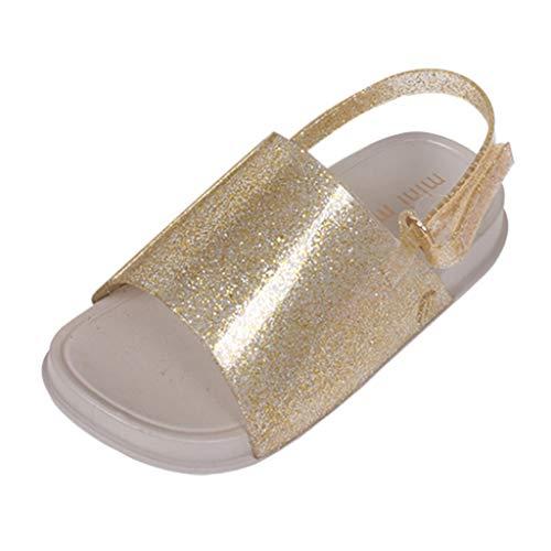 Baby Shoes Beach Sandals,Ewendy Baby Girls Boys Beach Sandales à Fond Souple antidérapantes Kids Pantoufles Brillantes Solid (3-3.5 Ans, Or)