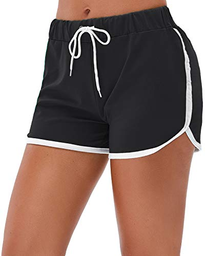 Little Beauty Running Yoga Athletic Workout Shorts for Women Black L