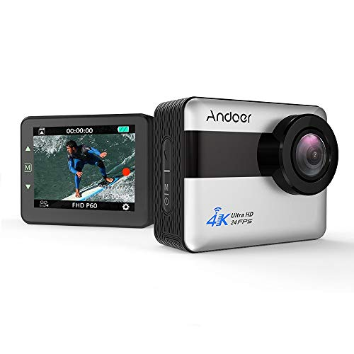 Andoer 20MP 4K WiFi Sports Action Camera 1080P Full HD Touch Screen Anti-Shake 5X Zoom 30m Waterproof 170° Wide Angle External Mic Voice Prompt
