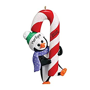 Personalized Petey Glitter Candy Cane Christmas Tree Ornament 2021 - Happy Playful Penguin Dancing Holiday Baby Tradition Grand-Kid Son Daughter Love Toddler Gift - Free Customization