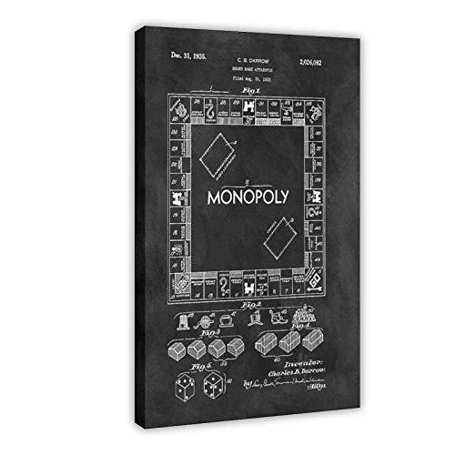 Póster de videojuegos en blanco y negro monopolio en lienzo para pared, decoración de la sala de estar, dormitorio, 50 x 75 cm, marco1