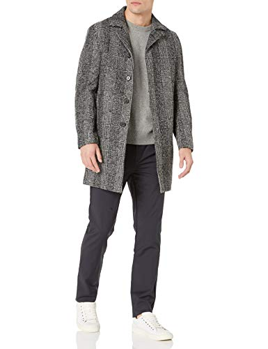 DKNY Men's Slim Fit Wool Blend Coat, black/white pattern, 50 Long