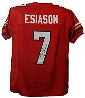 Boomer Esiason Autographed Maryland Terrapins Size XL Red Jersey JSA