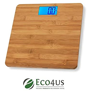 Eco4us - Bamboo Bathroom Scale, Body Scale, Weight Scale, Eco-Friendly, Stylish Design