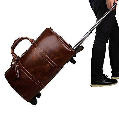 Luggage Leather Trolley Bag, Wheeled Travel Duffel Bag, Large-Capacity Travel Garment Bags, Waterproof Duffle Bags for Men, Best Weekend Bag