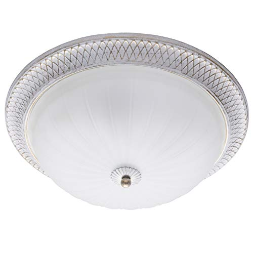 MW-Light 450013603 Runde Deckenleuchte Shabby Chic in Weiß 3 Flammig E27