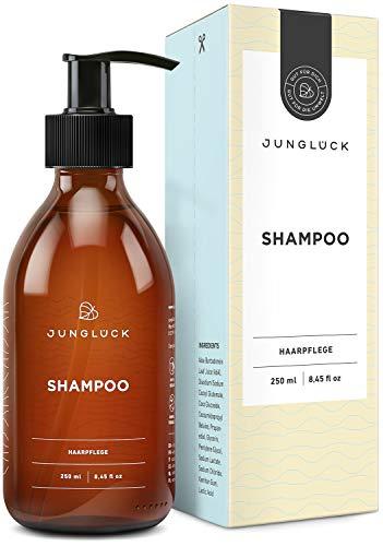Junglück veganes Shampoo in Braunglas- Aloe Vera und natürliche Tenside reinigen und pflegen dein Haar zugleich - natürliche & nachhaltige Kosmetik made in Germany - 250 ml