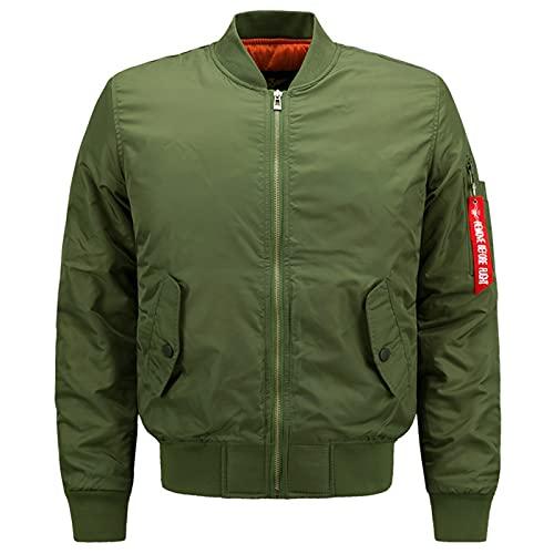 JIASHIQI Hombres Bombardero Chaqueta de Vuelo Militar Caliente Acolchado Acolchado airburne Chaqueta Invierno Motocicleta piloto Abrigo (Color : Green, Size : 8XL)