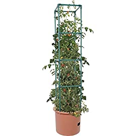 Hydrofarm GCTB2 Heavy Duty Tomato Barrel with 4' Tower, Green 7 Trellis expands to 4' Tall Planter holds approximately 14 L Water reservoir holds approximately 1. 3 gal (5 L)