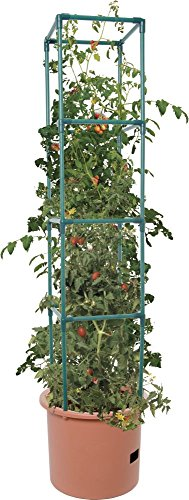 Hydrofarm GCTB2 Heavy Duty Tomato Barrel with 4' Tower, Green 1 Trellis expands to 4' Tall Planter holds approximately 14 L Water reservoir holds approximately 1. 3 gal (5 L)