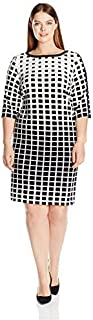 Sandra Darren Women's Size Plus 1 Pc 3/4 Sleeve Printed Ity Dress