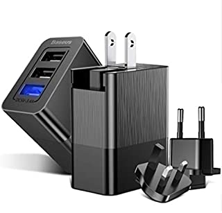 Baseus Duke Universal 3.4A Max 3 USB Port Replaceable Protable Travel Wall Charger Plug