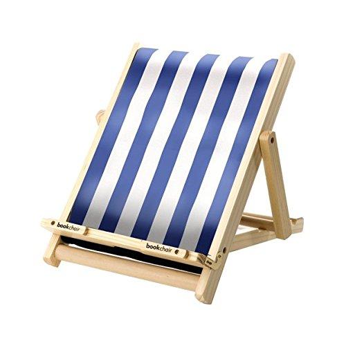 Bookchair Standard Blau-Weiß gestreift - Buchständer aus Holz: Leseständer für Bücher, E-Reader und Tablets