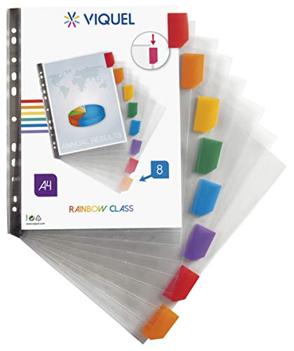 Viquel - Lot de 8 intercalaires personnalisables format A4 MAXI - RAINBOW CLASS - Onglets personnalisables