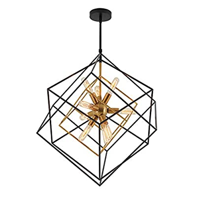 Artika Imperium Industrial Design 9-Light Chandelier 25W, Aged Brass Finish with Black Accents
